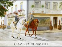 Equestrian Parade, Sevilla, Spain, ©Painting by Sandra Smith-Poling, Port Townsend, WA