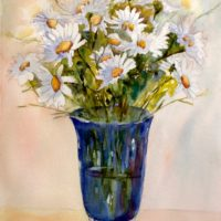 Daisies in Blue Vase © 2107, JoAnn Raines, www.discoverporttownsend.com